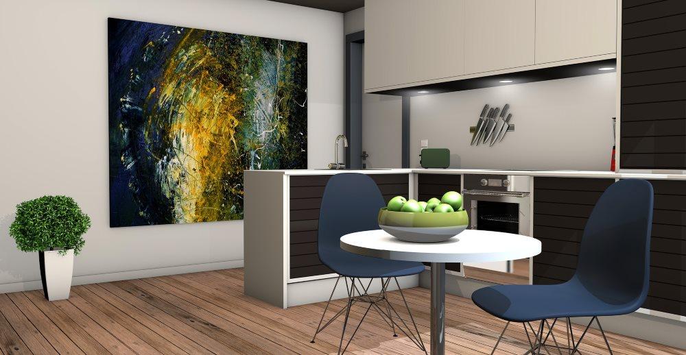 Moderne Küche mit Holzboden - gesundes Wohnen